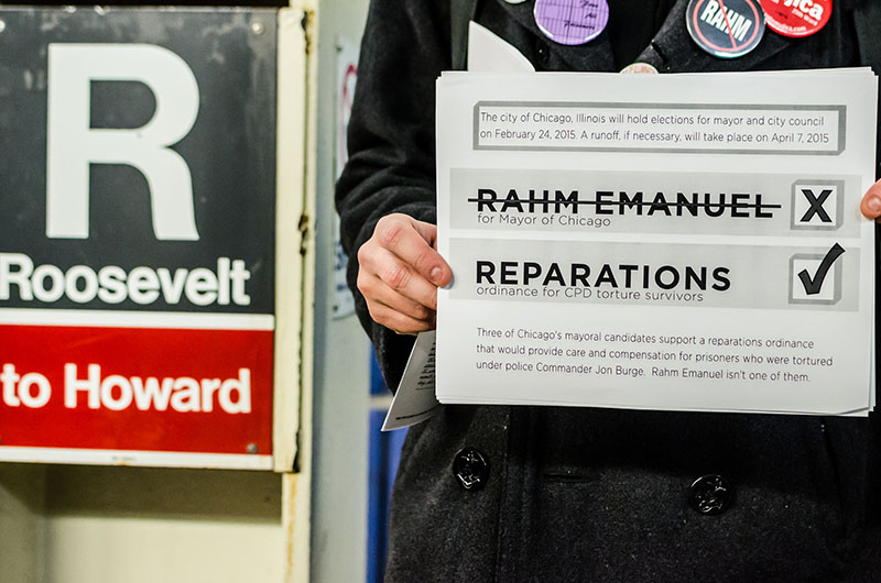 Feb. 21, 2015: WCG and the Chicago Light Brigade organize a #TrainTakeOver for reparations on the eve of the Mayoral and Aldermanic election.